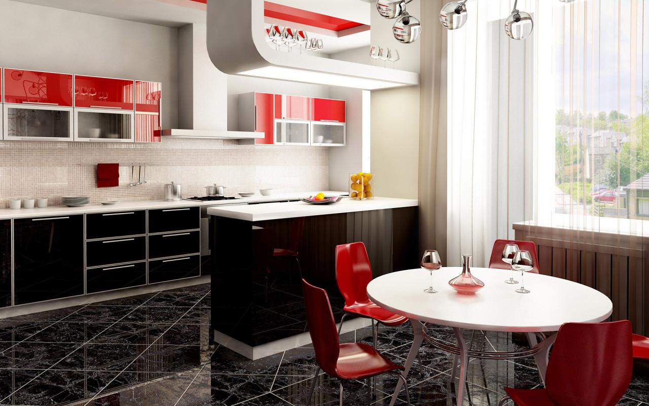 ديكورات مطابخ رقيقة الوان هادئة red-kitchen2.jpg