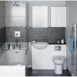 حمام صغير باللون الفضي والرمادي