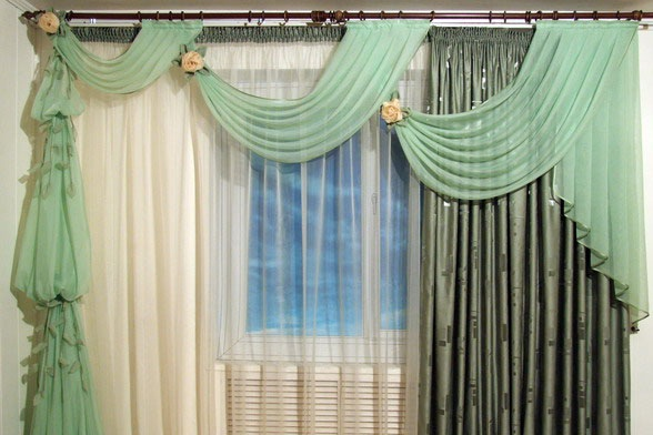 unique curtain design green curtain for living rooms احدث اشكال موديلات الستائر 2014 بالصور