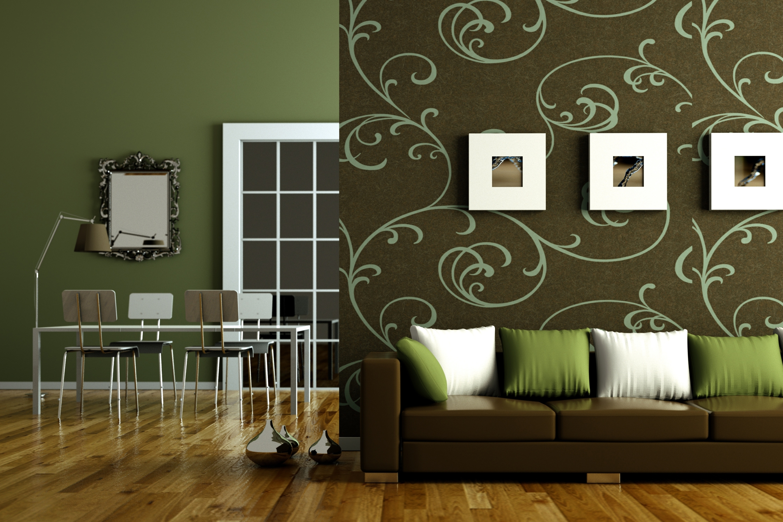 غرف معيشة روعة باللون الأخضر والبني