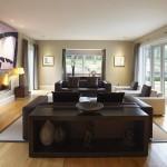 تصميم غرفة معيشة باللون البني انيقة - 42414