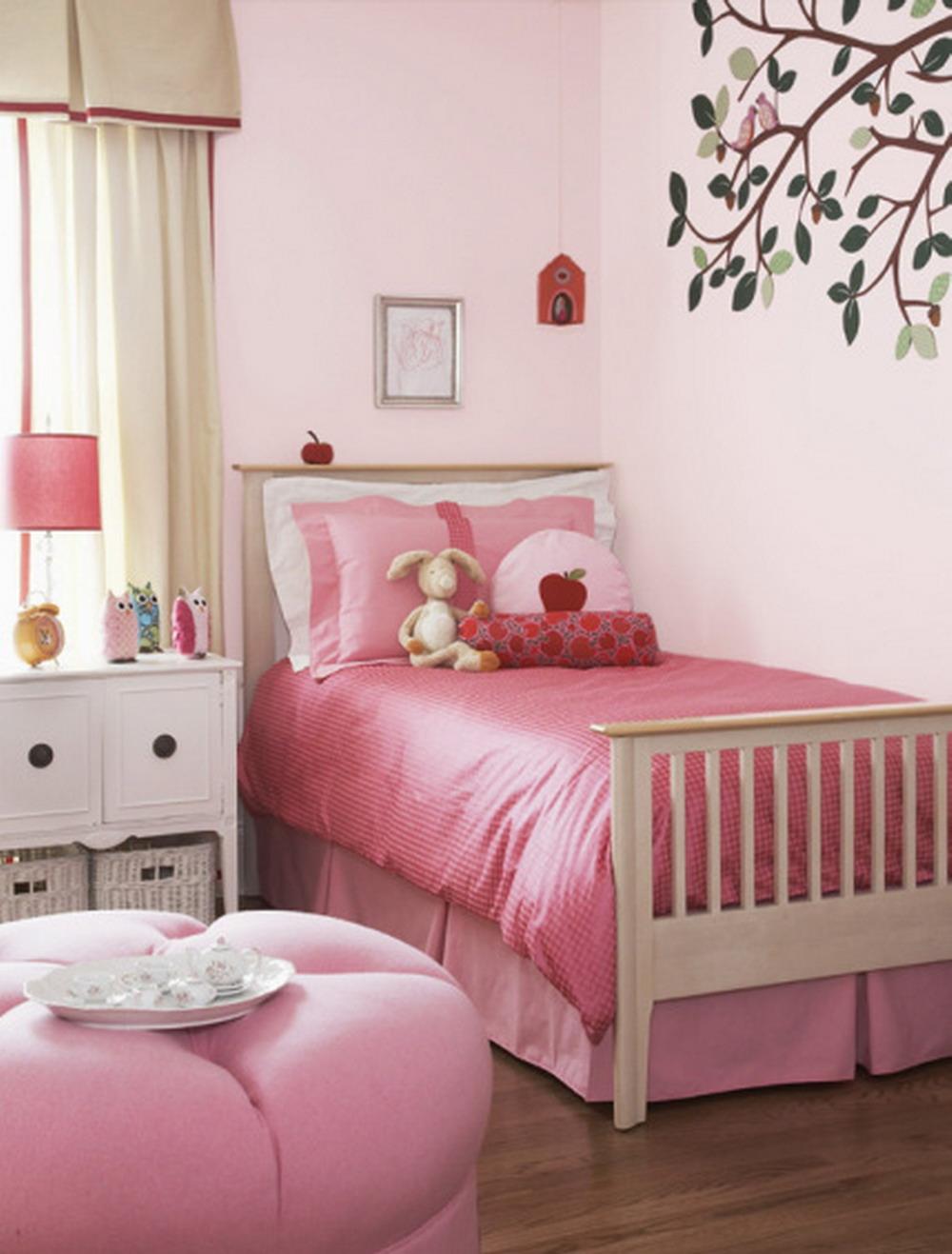 تصاميم غرفة نوم بنات وردي وتفاحي رقيقة | المرسال