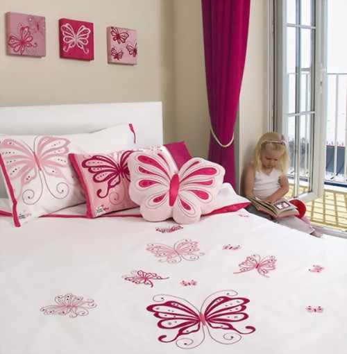تصاميم غرفة نوم اطفال بنات فراشات المرسال