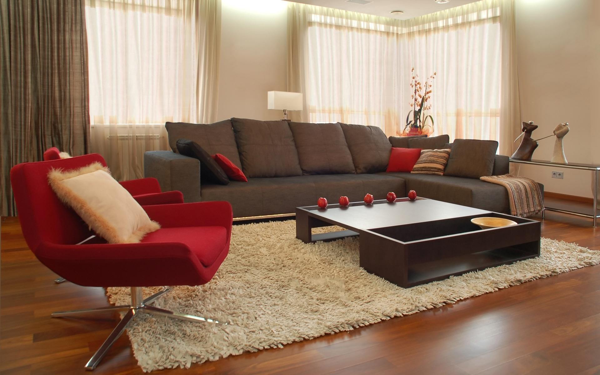 تصميم غرف معيشة باللون البني هادئة