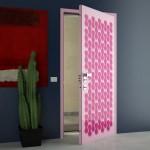 تصميم باللون الروز لباب غرفة مودرن
