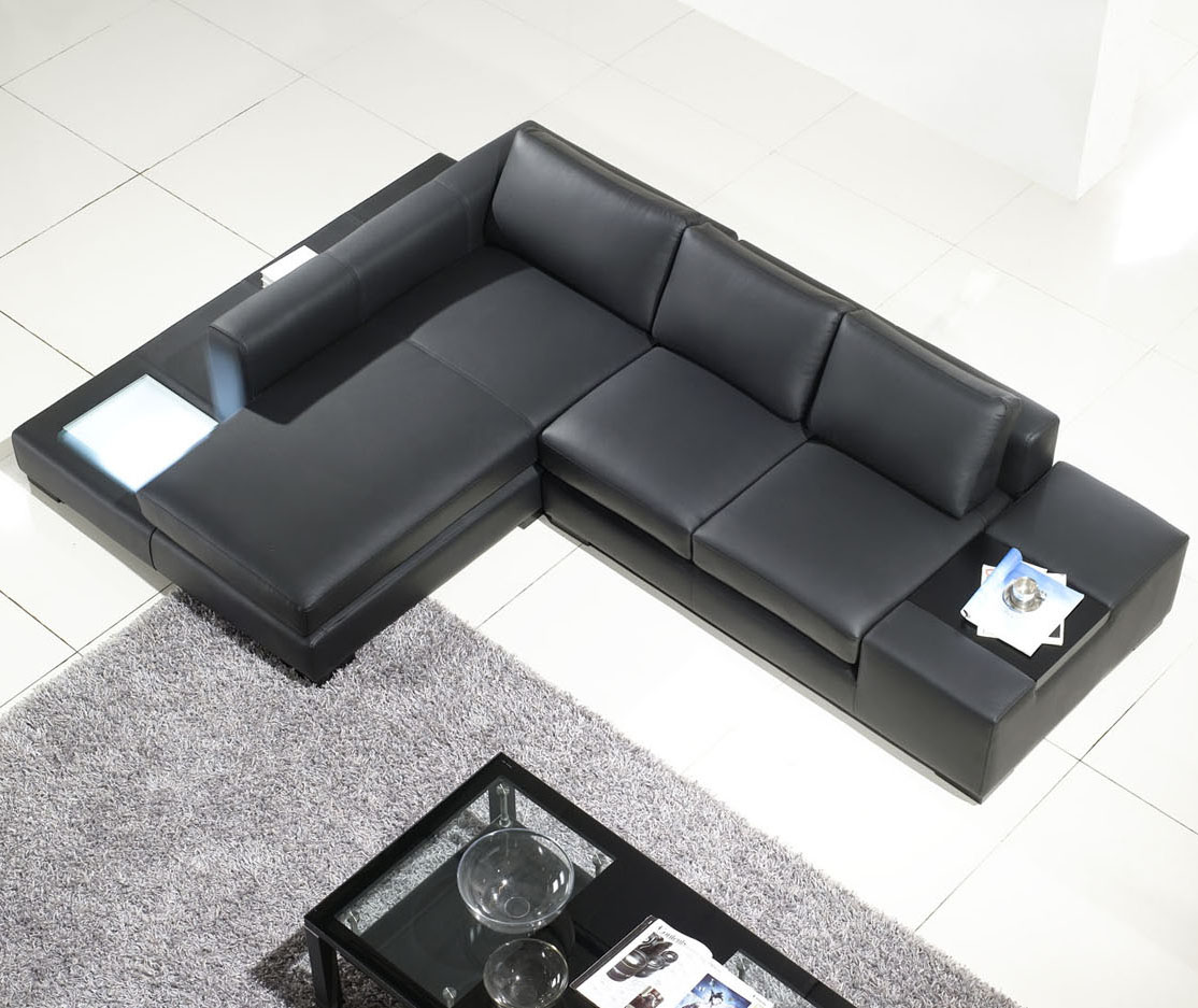 Tos Lf 2029 Comp Bl Bn on L Shaped Leather Sectional Sofa