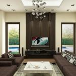 تصميم غرفة معيشة باللون البني فاخرة - 42419