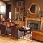 تصميم غرفة معيشة باللون البني مبهرة - 42421