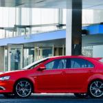 صورة السيارة ميتسوبيشي لانسر سبورت باك الحمراء 2014
