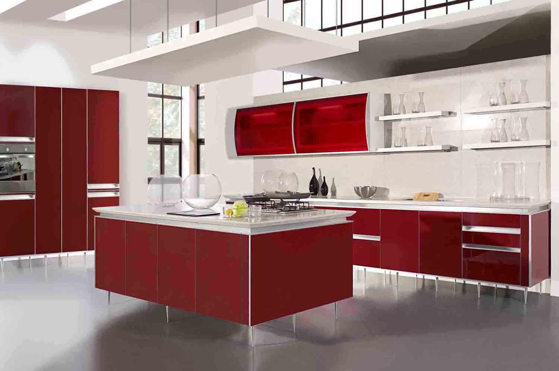تصميم مطبخ مودرن باللون الاحمر جميلة