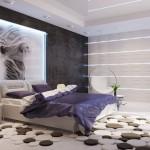 كرسي مرجيحة في غرفة النوم باللون الابيض  - 49595