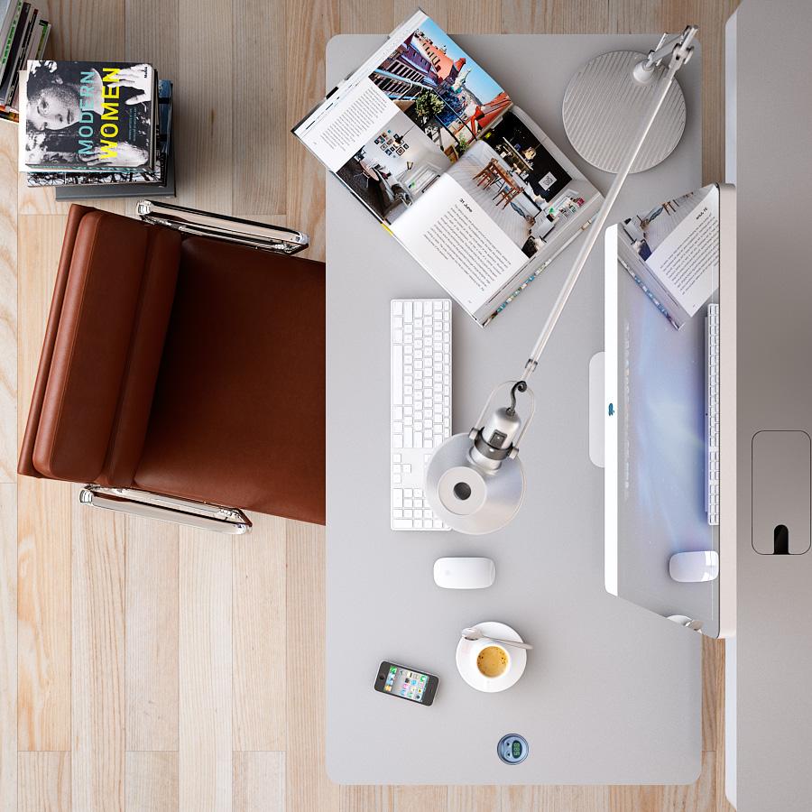 ارضيات مكاتب باللون البيج مع كرسي جلد