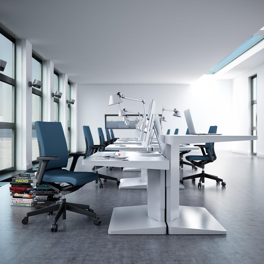 غرفة مكاتب مودرن بيضاء