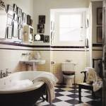 black and white bathroom design ideas 005 150x150 سيراميك حوائط وارضيات حمامات ابيض واسود مربعات مع بانيو انيق ابيض اللون