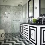 black and white bathroom design ideas 11 150x150 سيراميك حوائط وارضيات حمامات ابيض واسود مربعات مع بانيو انيق ابيض اللون