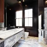 black and white bathroom design ideas 12 150x150 سيراميك حوائط وارضيات حمامات ابيض واسود مربعات مع بانيو انيق ابيض اللون