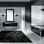 black and white bathroom design ideas 5 150x150 سيراميك حوائط وارضيات حمامات ابيض واسود مربعات مع بانيو انيق ابيض اللون