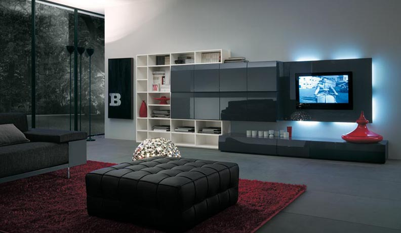 تصاميم ديكور ركن التلفزيون واسعة المرسال