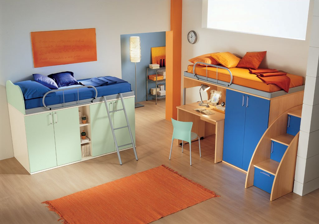 اللون الازرق في غرف نوم الاطفال المزدوجة مع اللون البرتقالي | المرسال