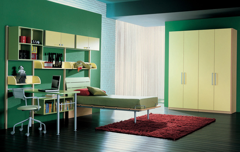 تصاميم غرف نوم شباب خضراء | المرسال