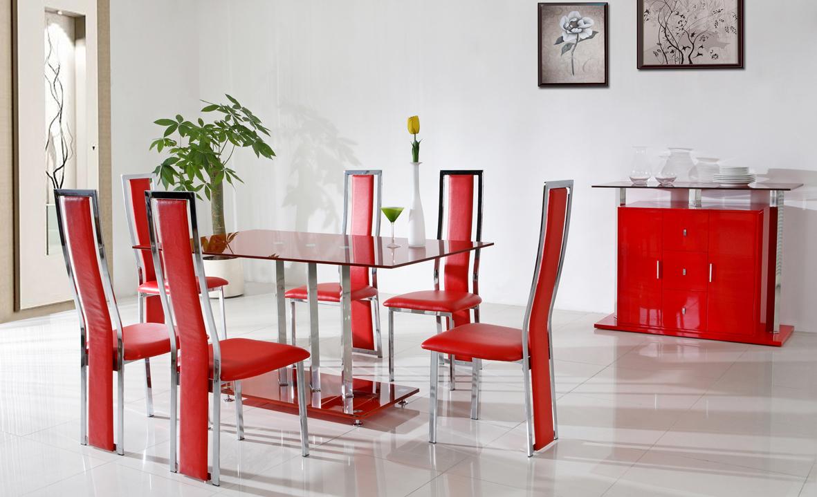 كراسي حمراء لغرف الطعام مع ترابيزة مربعة حمراء المرسال