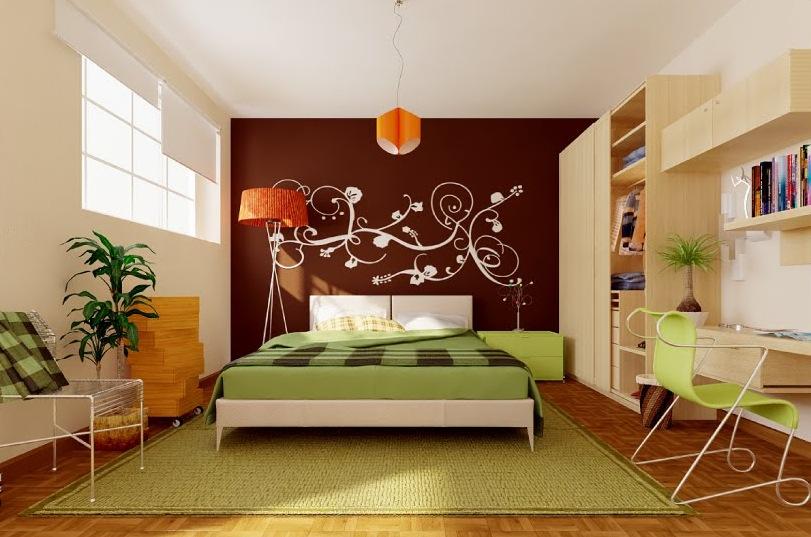 زخارف بيج لحائط بني رائعة لغرفة نوم خضراء