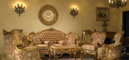 luxurious small living room design with chandelier 426x198 بالصور صالونات رائعة لمنزلك صالونات مودرن وكلاسيكية