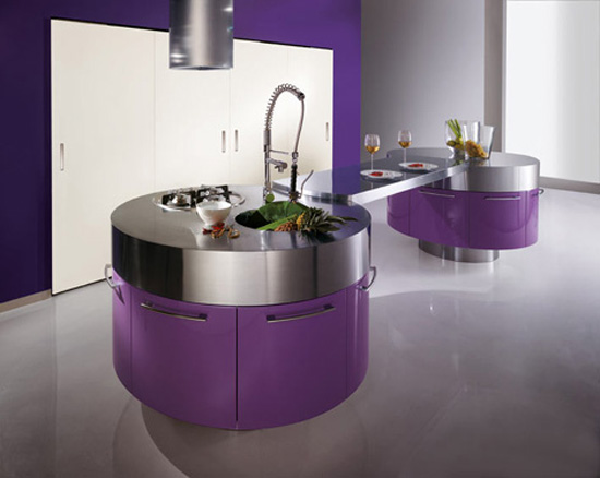 مطابخ كلاسيكية رائعة  Modern-purple-kitchen-with-cylindrical-fan-above-stainless-steel-countertop