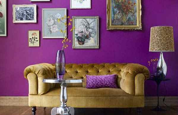for White and purple living room designs