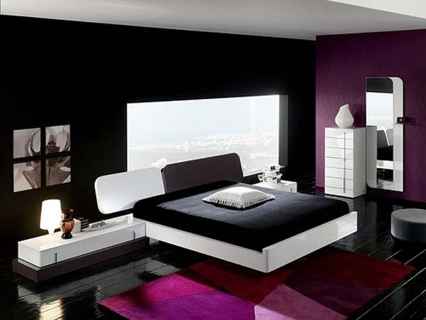 تصميم غرف نوم موف واسود بسيطة | المرسال