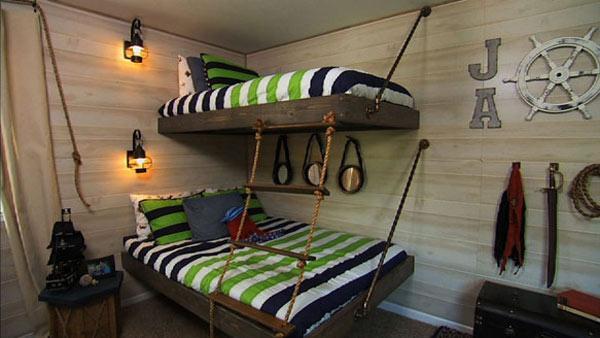 غرف نوم للاطفال بسرير دورين خشبي | المرسال
