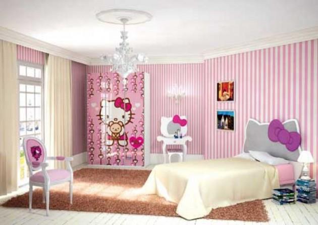 موديلات غرف نوم اطفال بحوائط مخططة بمبى وابيض | المرسال