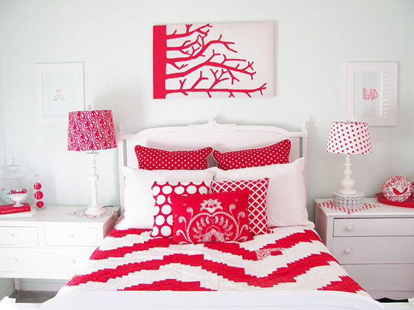 اللون الاحمر والابيض في غرف النوم المميزة | المرسال