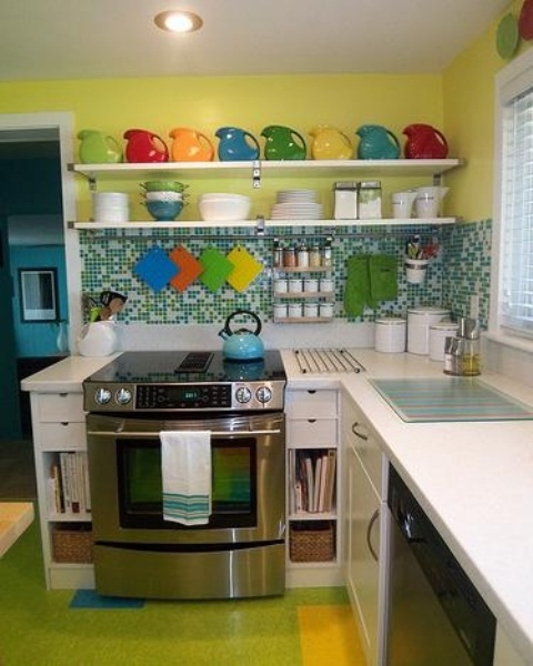Kitchen Design Yellow Green : ديكورات ملونة في مطابخ باللون الاخضر ...