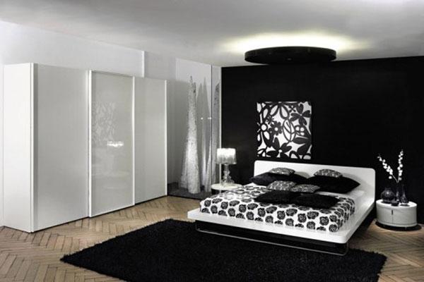 سجادة بلون اسود بغرف النوم الابيض والاسود | المرسال