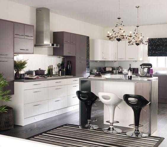 Kitchen Decor Ideas Red And Black: ارضية رصاصي بالمطابخ اللون الابيض مع الاسود