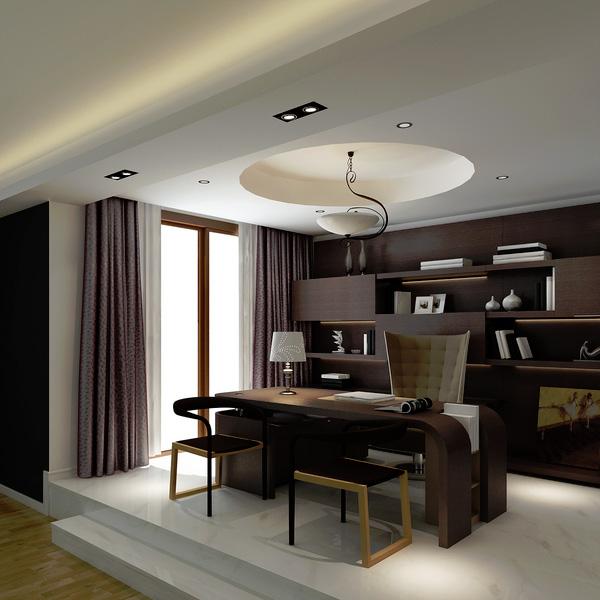 Home Office Decor For Private Impression: اشكال مذهلة للمكاتب باللون البني