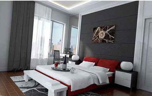اروع مفارش لسرير غرف نوم احمر وابيض واسود | المرسال