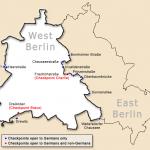 خريطة جدار برلين، والتي تبين نقاط التفتيش