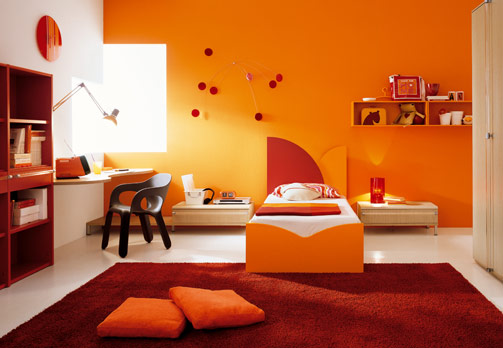 الوان روعة لغرف نوم اطفال باللون البرتقالي   المرسال
