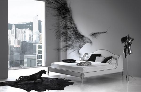 غرفة نوم رصاصي وابيض برتوش جميلة | المرسال