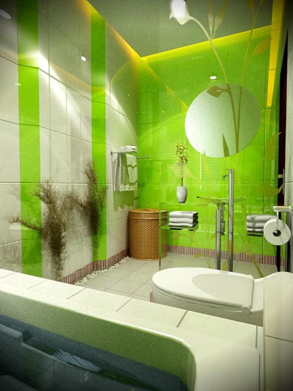 ديكورات شقق 2014 Green-and-White-bath