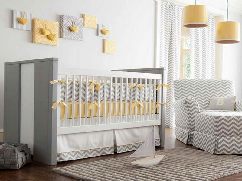 ���� ��������� ٢٠١٤ ����� ���� Yellow-and-Gray-Bedding-with-wall-decorations.jpg