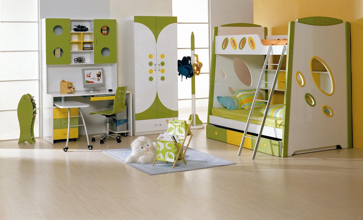 اللون الاخضر والابيض بغرف الاطفال بسرير بدورين