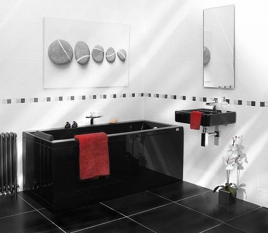 ديكورات حمامات باللون الاسود والابيض المرسال