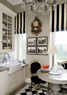 Bold black and white striped curtains
