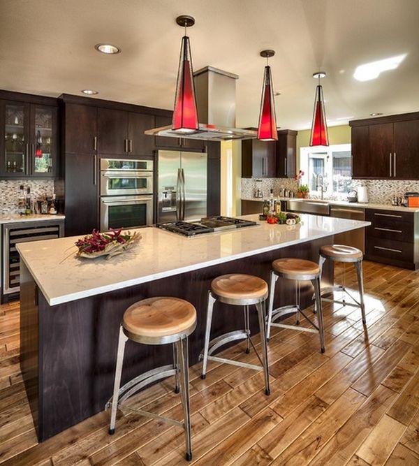 Cool Kitchen Stools: اروع تصاميم مطابخ على شكل بار باللون البني