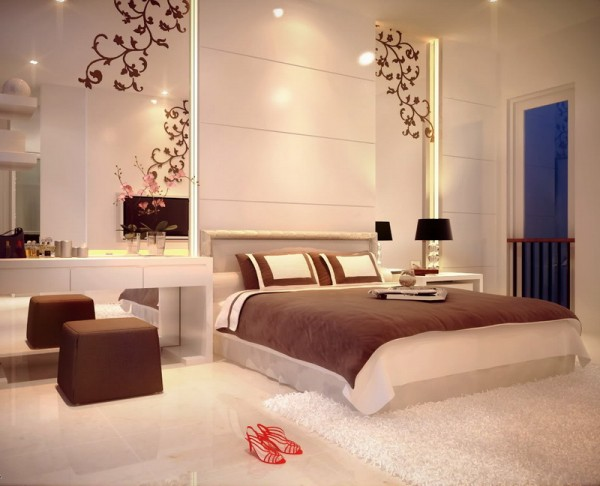 غرف نوم عرسان ساحرة والسرير باللون الابيض | المرسال