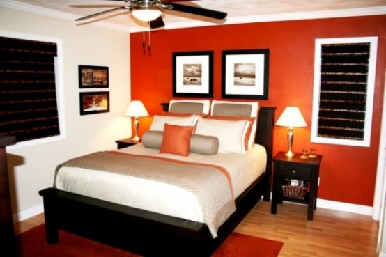 دهانات برتقالي اللون لغرفة نوم برتقالي | المرسال