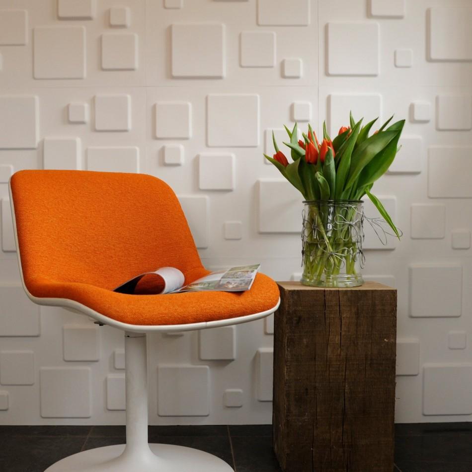 مربعات بيضاء بالجدران الجبسية